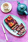 Pancake and raspberry jam terrine