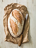 French Sourdough bread loaf with bread knife on paper wrapper