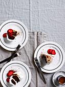 Chocolate ripple cake with strawberries