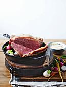 Corned wagyu beef with horseradish bechamel