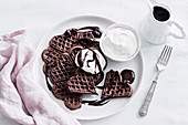 Waffles with Chocolate and Pedro Ximenez sauce