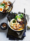 Japanese egg and pork curry soup