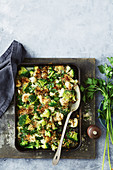 Cauliflower, broccoli and hazelnut cheat's gratin