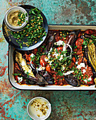 Roasted eggplant, tomato and pine nut