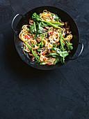 Crispy beef and shiitake noodles