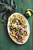 Pasta stroganoff with mushroom ragout