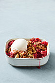 Rhubarb and ginger crumble with ice-cream