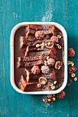 Nutella pudding with chocolate hazelnut pralines