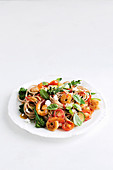 Spicy prawn and broccolini spelt pasta