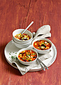 Salsa soup with corn, kidney beans and ajvar