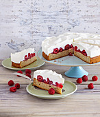 Yoghurt cream cake with raspberries