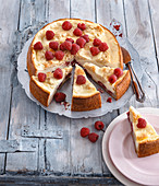 Quark cake with raspberries