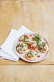 Trout tartar on mini rice waffles