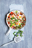 Shakshuka with eggplant and feta