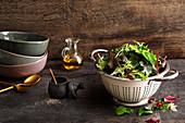 Fresh salad leaves in a colander
