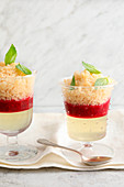 Lychee granita with ginger on agar-agar and raspberry puree