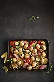 Turkey meatball and barley tray bake