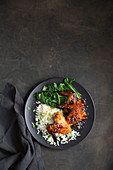 Sticky chicken wings with miso, ginger, paksoi and rice