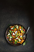 Warm lentil and sweet potato salad with feta