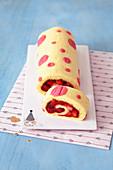 Polka dot sponge roll with strawberry filling