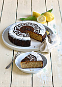 Limoncello cake with amarettini, sliced