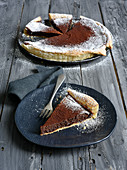 A chocolate tart with puff pastry