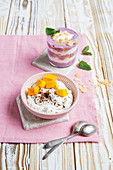 Berry and elderberry yoghurt, and stracciatella quark with mango