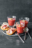 Strawberry and watermelon gazpacho with basil and toasted bread