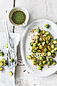 Sweet and sour crispy brussels sprouts with peanuts