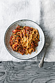 Linguine with lamb ragout