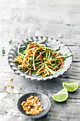 Papaya and carrot salad with dried shrimps and runner beans