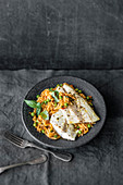 Grilled sea bass with orzo pasta