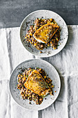 Fried zander with balsamic lentils