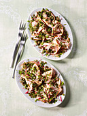 Veal salad with radishes and honey dressing
