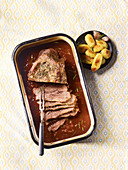 Braised beef breast with rosemary potatoes