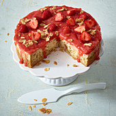 Strawberry and rhubarb poke cake