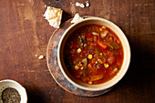 Hearty vegetable soup with white bread