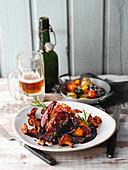 Coq au Bière – braised chicken in dark beer with oven-roasted vegetables