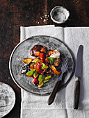 Grilled vegetables with goat's cheese and apple-balsamic chutney