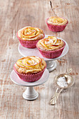 Rose muffins with apple and marzipan