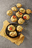 Savoury choux pastries with tomatoes and herbs