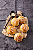 Burger buns with sesame seeds