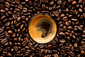 An espresso in the midst of coffee beans (top view)