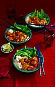 Gunpowder Pork mit Gemüse und Reis (China)