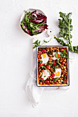Sweet potato, bean and kale shakshuka