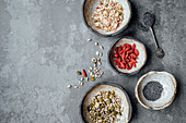 Oats, goji berries, chia seeds and nuts