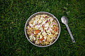 Couscous salad in a field