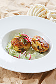 Shimeji mushroom fritters with creamy cucumber noodles
