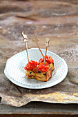 Fried focaccia dumplings with spicy salsa