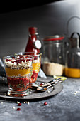 Mango and raspberry mousse with puffed millet